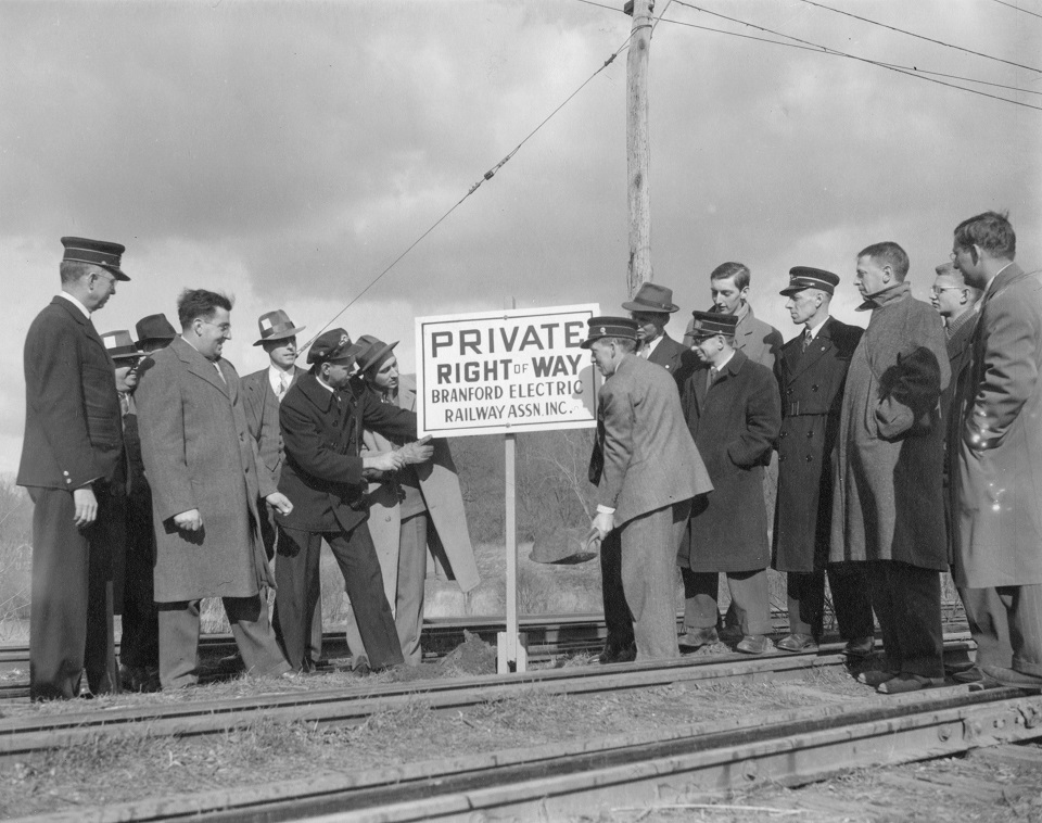 This photo was stages just after the museum's incorporation in 1945 to mark the beginning of private right-of-way.