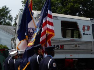 PATH car 745's ceremonial arrival at the Shore Line Trolley Museum